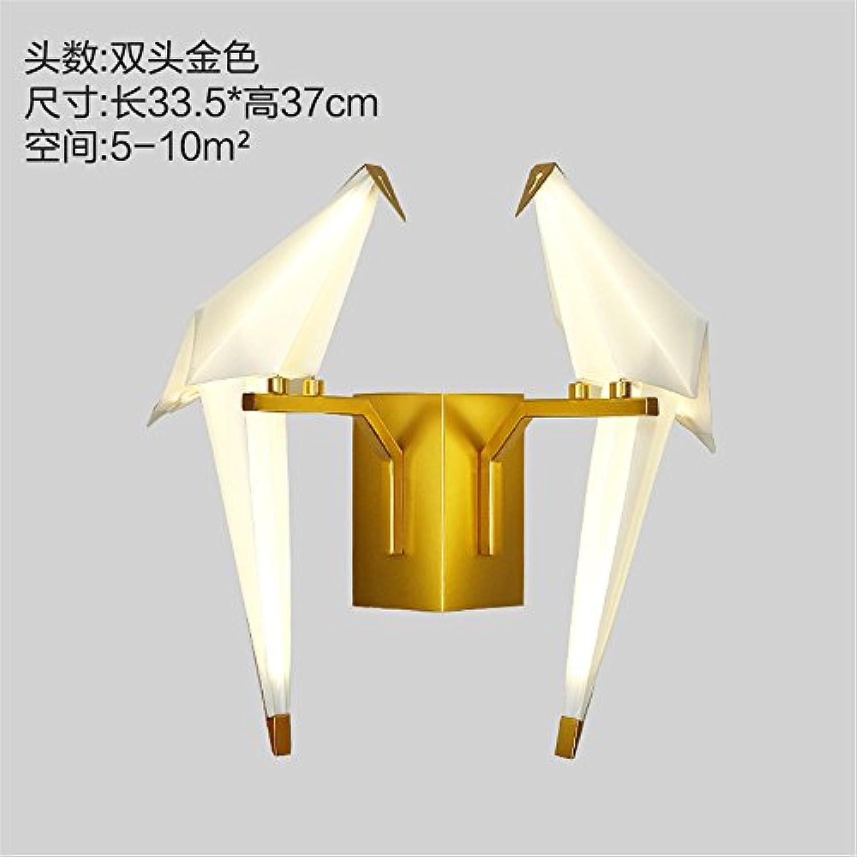 StiefelU LED Wandleuchte nach oben und unten Wandleuchten Einzelne Wand Lampen Wohnzimmer Thema Restaurant Lounge Schlafzimmer Birdie 1000 Papier Krane Wandleuchten, Gold, Dual Head