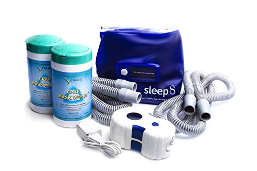 Sleep8 CPAP Machine Cleaner and Sanitizing Bag | Includes Two (2) Citrus II Cpap Mask Wipes | Two (2) Tubings 6ft Hose | Cpap Cleaner to Sanitize Cpap Machine or Mask | UV Sterilizer for Sleep Apnea