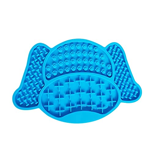 DIAOD NEW Pet Dog Bowl Silicone Dog Lick Pad Pet Slow Food Plate Dog Bath Training Plate Mat Pet Bath Accessories Dog Supplies (Color : Blue)