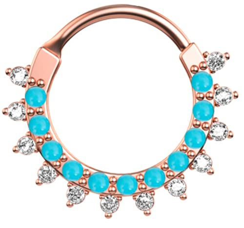 16G Sky Blue Beads Rose Segment Ring Septum clicker, bisagras, segmento piercing 10mm nariz anillo, pendiente