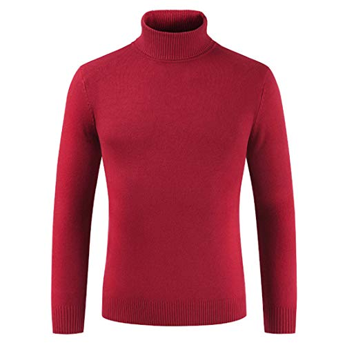 Turtleneck Sweater Men Sweater Men Slim Simple Long-Sleeve Boutique Men Sweater Autumn and Spring Soft Material Comfortable Warm Men Knitted Tops Red_ XXL