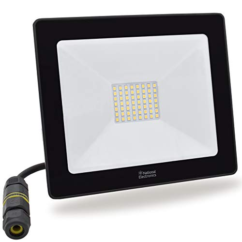 National Electronics LED Strahler 50W IP65 3500lm außen ersetzt 350W LED Flutlicht 120° Lampe für Garten Garage Einfahrt mit Kabelverbinder IP68