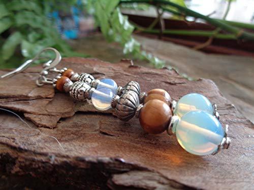 ⊹⊱❁ PIEDRA LUNA Y MADERA DE RAÍZ CON PENDIENTES BALI BALL ❁⊰⊹ Pendientes largos únicos con perlas únicas, ópalo