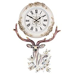 Fancy Elegant Ethnic Luxury Wall Clock W17H25 Inch European Home Decorative Stylish Silent Battery Operated Deer Design 3D Embossed Polyresin Frame Handicraft Living Room Couple House Office ZJART