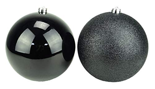 Pack of 2-200mm Baubles - Shiny & Glitter Design - Giant Christmas Baubles (Nero)