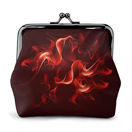 Red Flame Coin Purse Wallet Bule -Lo Small Leather Change Pouch Gift for Women