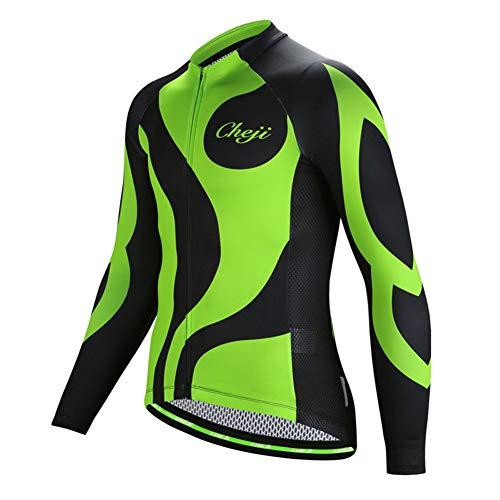 FREE FISHER Mens Long Sleeve Cycling Jersey Mountain Bike Clothing Road/Bicycle Shirt/Padded Pants, Black & Green Top, XXL(US XL)