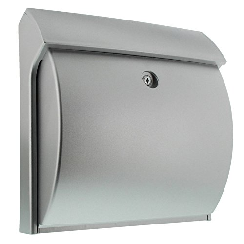 BURG-WÄCHTER Briefkasten ohne Zeitungsfach ohne Namensschild, Hochwertiger Kunststoff, Einwurf-Format DIN C4, Inkl. 2 Schlüssel, Classico 4932 SI, Silber (ähnlich RAL 9006)