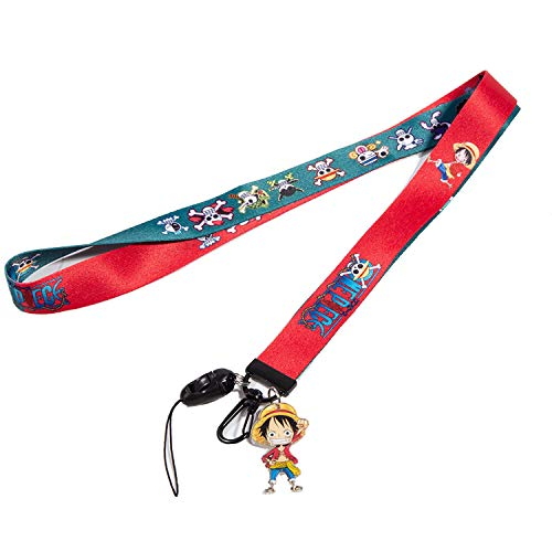 One Piece Lanyard Luffy Keychain ID Card Lanyard Cartoon Anime Lanyard (Pink and Green)