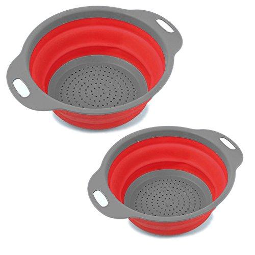 BYBO 折りたたみ ざる シリコン 水切りフルーツ 野菜 食品 洗浄 容器 非常に使いやすい 掃除のしやすい キッチン用品 2セット (赤)