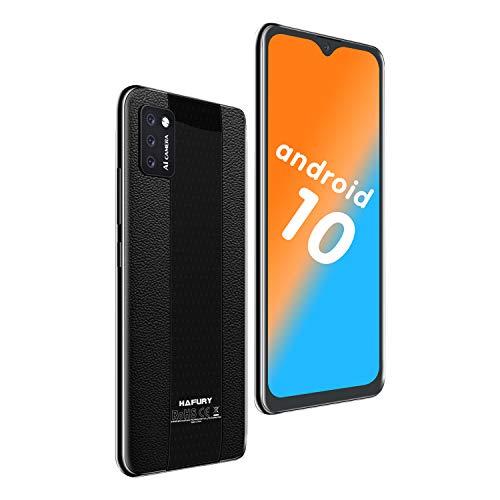 4G Smartphone ohne Vertrag, Günstige Android 10, 5,5 Zoll Wassertropfen Bildschirm, 2+16GB, 128 GB erweiterbar Dreifache Kameras, HAFURY Handy (Schwarz)