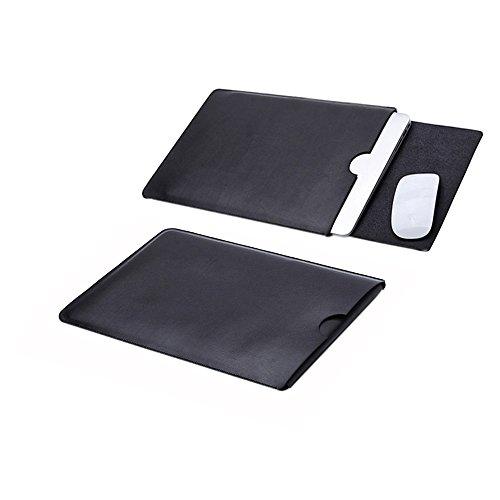 Delmkin MacBook Air Hülle PU-Leder MacBook Air und MacBook Pro Schutzhülle 13 Zoll (Schwarz)
