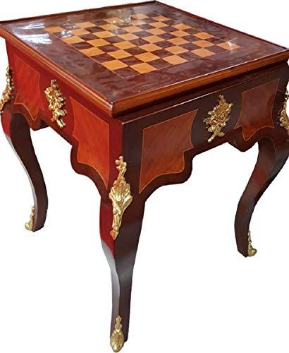 Casa Padrino Art Deco Massivholz Schachtisch Braun/Dunkelbraun/Beige/Messing 60 x 60 x H. 71 cm - Handgefertigter Spieltisch - Beistelltisch - Antik Stil Barock Möbel