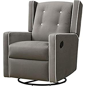 Gliding Chair Glider for Nursery Rotating Swivel Button Tufting Recliner Chair Armrest Relaxation Leg Rest Modern Indoor Comfy Contemporary Comfortable Bedroom Furniture Grey & eBook by NAKSHOP