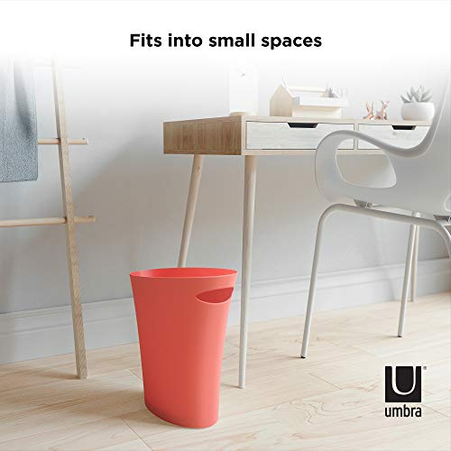Umbra 082610-180 Skinny, Coral Sleek & Stylish Bathroom Trash, Small Garbage Can, Wastebasket for Narrow Spaces at Home or Office, 2 Gallon Capacity, Single Pack
