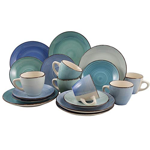 18-tlg. Kaffeeservice aus Porzellan für 6 Personen - Kaffeetassen Teetassen Kaffeebecher Tassen Dessertteller Kaffee-Service Farbe Blue Azul