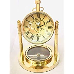 Brass Compass Clock with Globe Look 3 in 1 Desk Clock for Home and Table Decor (Golden)