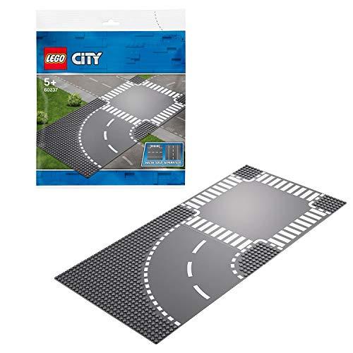 LEGO CitySupplementary CurvaeIncrocio a T Supplementare con 2 Piattaforme di Base per Tutti i Set da Costruzione, 60237