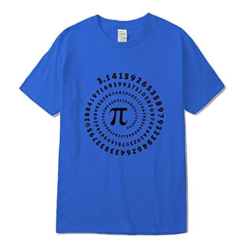 Astemdhj Camiseta de Manga Corta Camisa 3D Camiseta para Hombre 100% Algodón De Manga Corta Geometría Matemática Impresa Hombres O-Cuello Estilo Callejero Fresco Divertido Suelto S Azul1