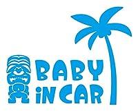 Sticker Shop Haru BABY IN CAR ステッカー ティキ像とヤシの木 20cm ライトブルー