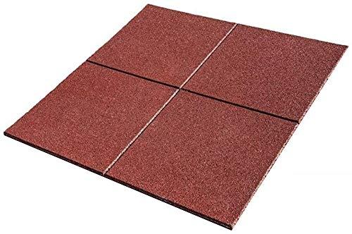 Pack de Losetas de caucho para parques infantiles y gimnasios, suelos para parques infantiles medida de 100 x 100 x 2 cm (1 unidad (1m2), Rojo)