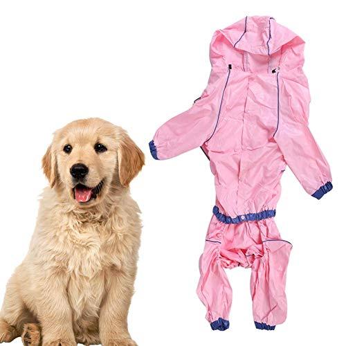 Sollmey Chubasquero Impermeable para Perros Pet-PU Rosa Mascota Cuatro pies Impermeable Impermeable con Capucha Abrigo Chaqueta Ropa para Perros Gatos(22号)