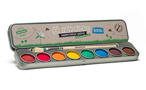 Honeysticks Natural Washable Watercolor Paints for Kids and Children, 8 Vibrant Colors with Brush, Natural and Food-Grade Ingredients, Art Supplies for School and Home, for 3 Year Plus (8 Colors)