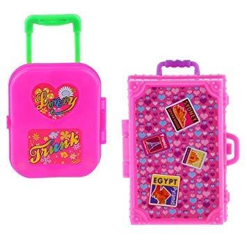 Hinter Kunststoff-Koffer-Box für Barbie Puppenhaus, Dekoration, Zubehör, Rosa, Miniaturgepäck, 2 Stück