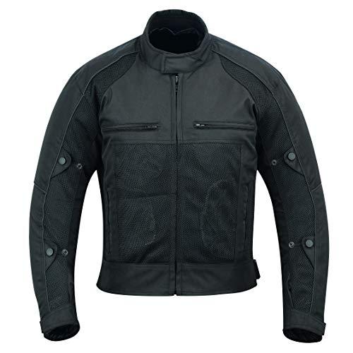 Warrior Air Mesh - Chaqueta de moto para hombre | Transpirable textil para montar en carreras con forro extraíble y armaduras CE, color negro (9XL)