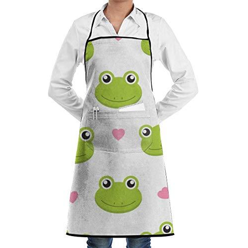 Lindo delantal de patrón sin costuras con cabeza de rana, unisex, para hombre, para mujer, chef, ajustable, poliéster, largo, negro, para cocinar, delantales de cocina, babero