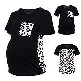 YWLINK Camiseta De Maternidad De Manga Corta con Estampado De Leopardo Y Cuello Redondo,Camisetas Mamá Mujer Ropa Premamá Lactancia Maternidad De Doble Embarazada Capa Primavera OtoñO
