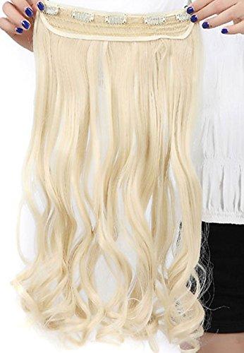 S-noilite® 60 cm Clip-in Haarteil 3/4 Perücke Clip in Extensions Haarverlängerung Gelockt Wellig Ein Tresse Haar(Bleichmittel Blond)