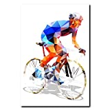 N / A Polygonal Biker Canvas Art Bike Canvas Painting Poster for Living Room Wall Decoration Frameless 40x50 cm