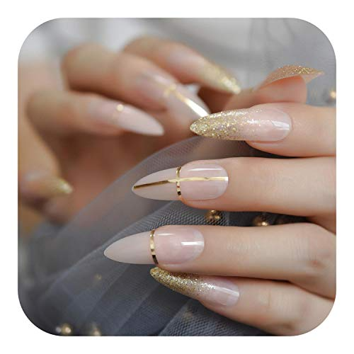 Cheap Nail Art, UV Gel Cover False Nails Gold Glitter Nude Lady's Press On Fingernails Short With Adhesive Tabs Perfect For Daily-L5266-
