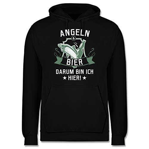 Shirtracer Angeln - Angeln und Bier - XL - Schwarz - Geschenk - JH001 - Herren Hoodie und Kapuzenpullover für Männer