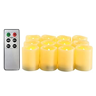 Candle Choice Flameless Candles Battery Operated LED Votive Candles with Timer Remote Control Candles 12 Pack 1.5x2.0