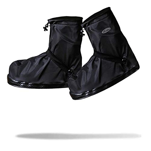 [Frelaxy]シューズカバー防水雨よけ靴カバー6サイズ(S-3XL)5色四つの防水設計滑り止め通勤通学自転車用耐久性男女兼用XXXL(27-28.5cm),ブラック