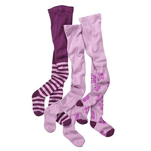 wellyou Kinder-Strumpfhosen für Mädchen 3er Set | Baby-Strumpfhosen lila | hoher Baumwoll-Anteil |Größe 98-104