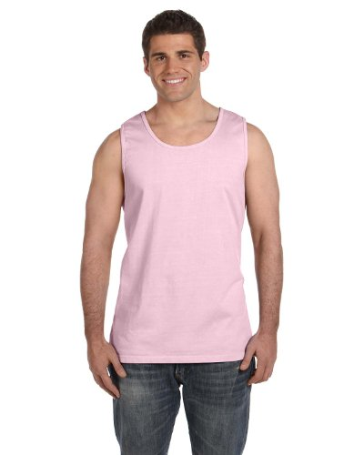 Pale Pink Tank Top for Men. Perfect for wearing under a white jacket. Blue also available.