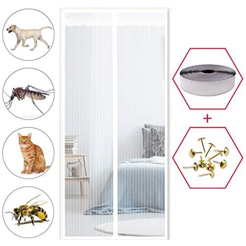 GOUDU Magnet Fliegengitter Tür, Fliegengitter Balkontür, Insektenschutz, Ohne Bohren, für Balkontür Wohnzimmer Terrassentür - Weiß 75x210cm(30x83inch)