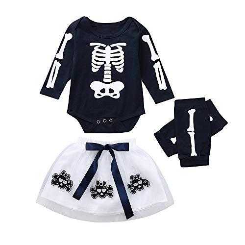 MAYOGO Ropa Halloween Calavera Conjunto Niña Camiseta Manga Larga y Falda Tul Ropa Bebe Fiesta...