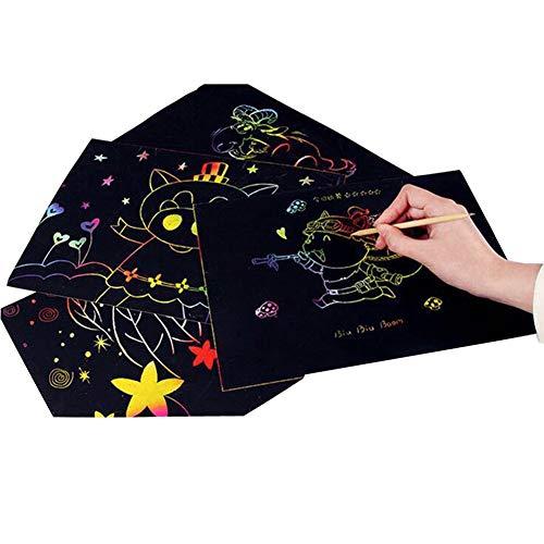Lucky Meet Regenboog Scratch Paper Art Sketch Set Grote Vellen Scratch Papier Pad met Houten Stylus voor Kinderen Kinderen Volwassenen Tekenen Scratching Doodling Schrijven Craft Project DIY 10 pcs