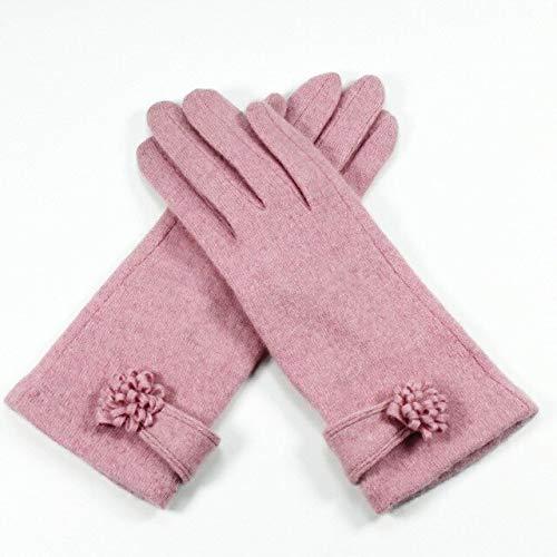 Guantes de Pantalla táctil para Mujer Guantes de Invierno para Mujer cálidos con Arco de Dedo Completo Bordado - B Rosa