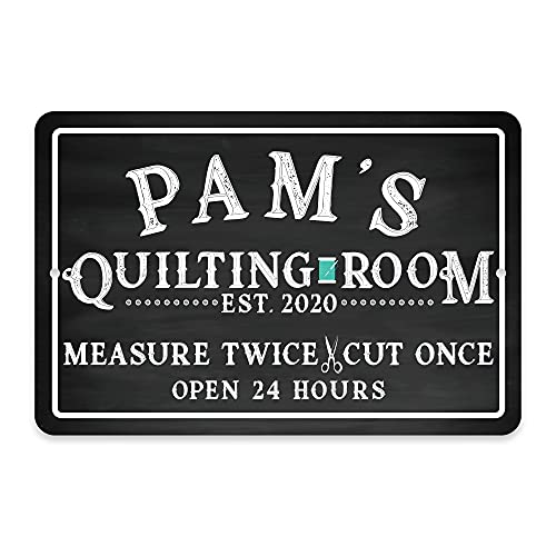 Pattern Pop Personalized Quilting Room Chalkboard Look Metal Room Sign (11x14 Inches)