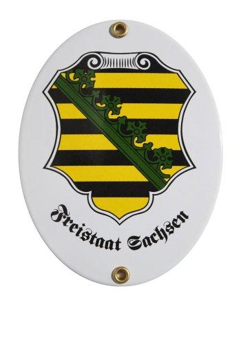 Sachsen Emaille Schild Freistaat Sachsen 11,5 x 15 cm Emailschild Oval.