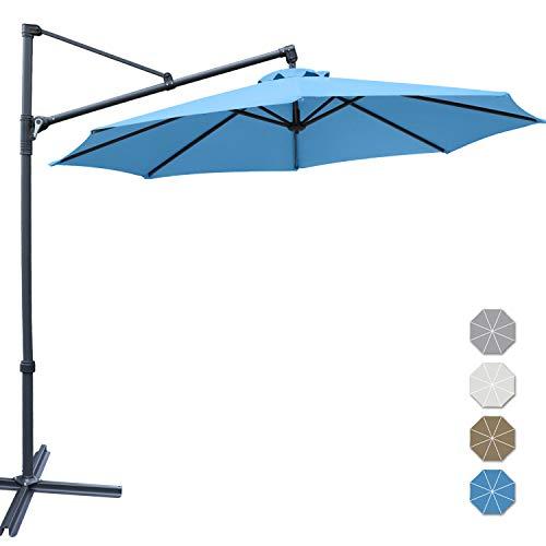 ABCCANOPY Patio Umbrellas Offset Hanging Umbrellas Cantilever Umbrella 10 FT Outdoor Market Umbrella with Easy Tilt,Crank & Cross Base for Beach, Garden, Deck and Pool, 12+ Colors, (Turquoise)