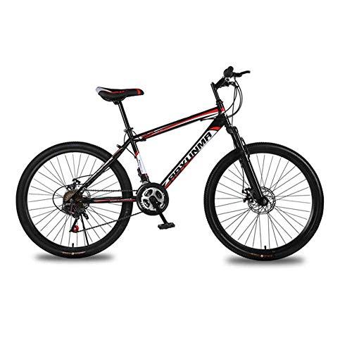 WEHOLY Vélo 'Mountain Bike' pour Hommes, Cadre en Acier de 17 ', fourches de Suspension Avant entièrement réglables à 24 Vitesses pour Amortisseur arrière, Rouge, 27 Vitesses