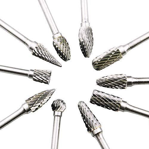 CestMall Carbide Burr Set, Tungsten Carbide burr drill Bit Set 10 Pcs Rotary Double Cut Carving Drill with 1/8 In Shank and 1/4 In Head for Grinder Drill, Wood-Working Carving, Metal Polishing