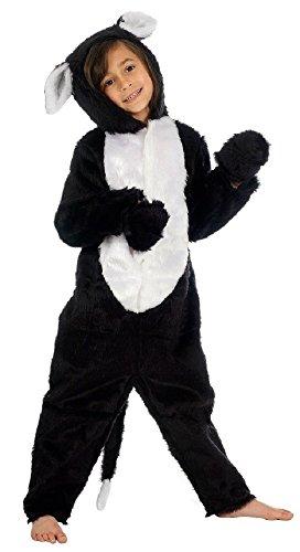 Enfants Garçons Filles de Luxe Fourrue Chat Noir Combinaison Animal Costume Déguisement - Noir, 8-10 Years (140cms)