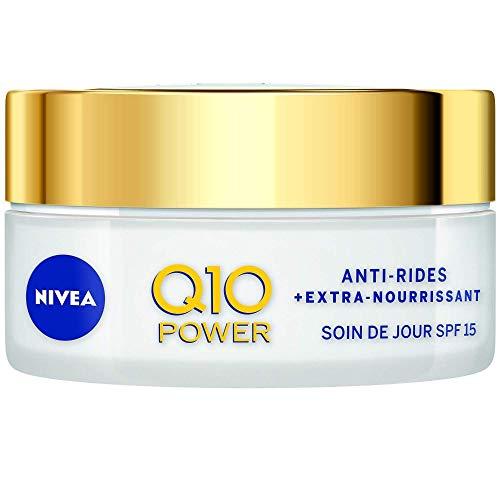 NIVEA Q10 Power Anti-Rides Soin de Jour + Extra-Nourrissant (1x50ml), Soin visage FPS 15 enrichi en Huile d'Argan BIO & Q10 naturel, Crème de Jour Peau Sèche à Très Sèche